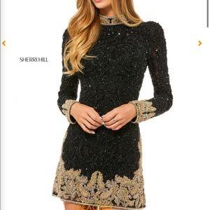 SHERRI HILL black and gold beaded dress!